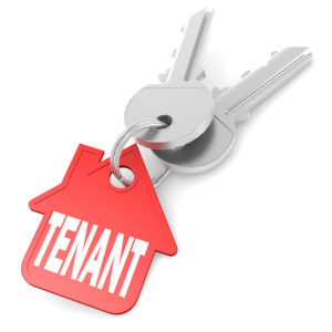 Keychain with tenant word image. 3D rendering